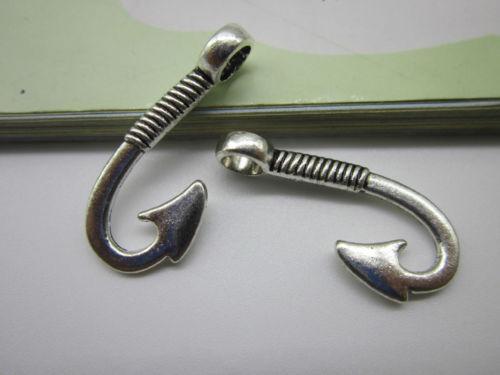 lot 20//40pcs Retro Style Fish hook alloy Charms pendants 30x13mm