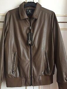 Men Designer Brown Leather Jacket Size Medium AC Made in Italy - Barking, United Kingdom - Men Designer Brown Leather Jacket Size Medium AC Made in Italy - Barking, United Kingdom