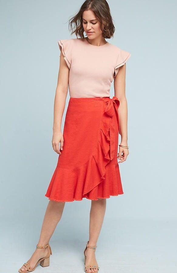 NEW Anthropologie  118 Holding HorsesWomen's orange Ria Ruffled Skirt Size 2