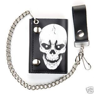 Biker-Chain-Wallet-White-Skull-Black-Leather-Trifold-Mens-Trucker-USA-Made