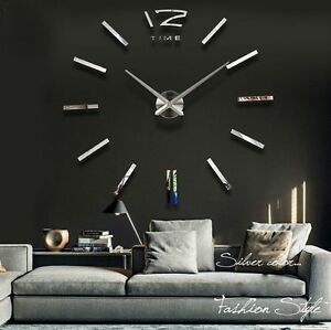 design wanduhr modern edelstahl dekoration spiegel uhren uhr wandtattoo xxl 3d ebay. Black Bedroom Furniture Sets. Home Design Ideas