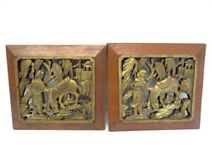 Two-Vintage-Carved-Pair-Gold-Red-Asian-Motif-Donkey-Chinese-Man-Carvings-Art