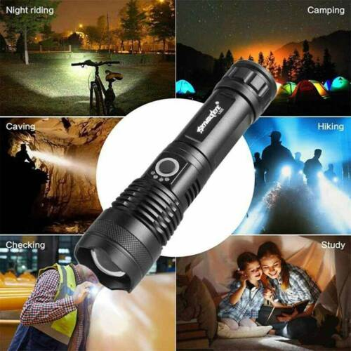 Details about  /Powerful XHP50 Flashlight Torch 5Mode 990000LM LED Zoomable USB Rechargeable US