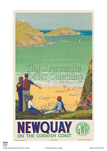 NEWQUAY CORNWALL RETRO VINTAGE RAILWAY TRAVEL POSTER  ADVERTISING TRAIN ART