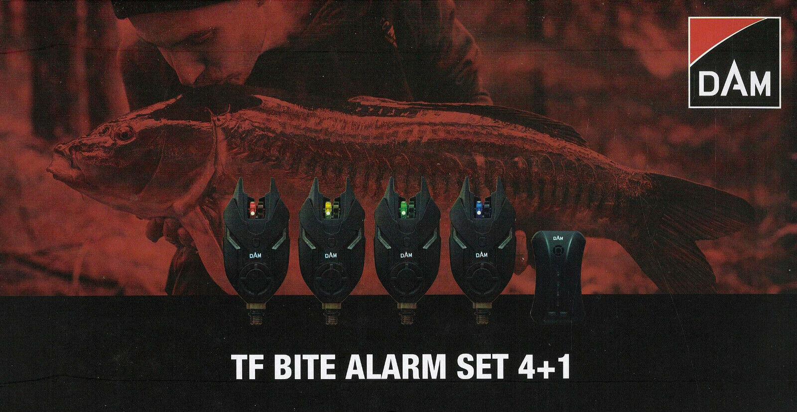 DAM ® TF Bite Alarm Set 4+1 Funk Bissanzeiger Set LED red-yellow-green-blue +Koffer