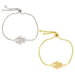 Women-Charm-CZ-Crystal-Rhinestone-Plated-Hamsa-Adjustable-Bracelet-Jewelry
