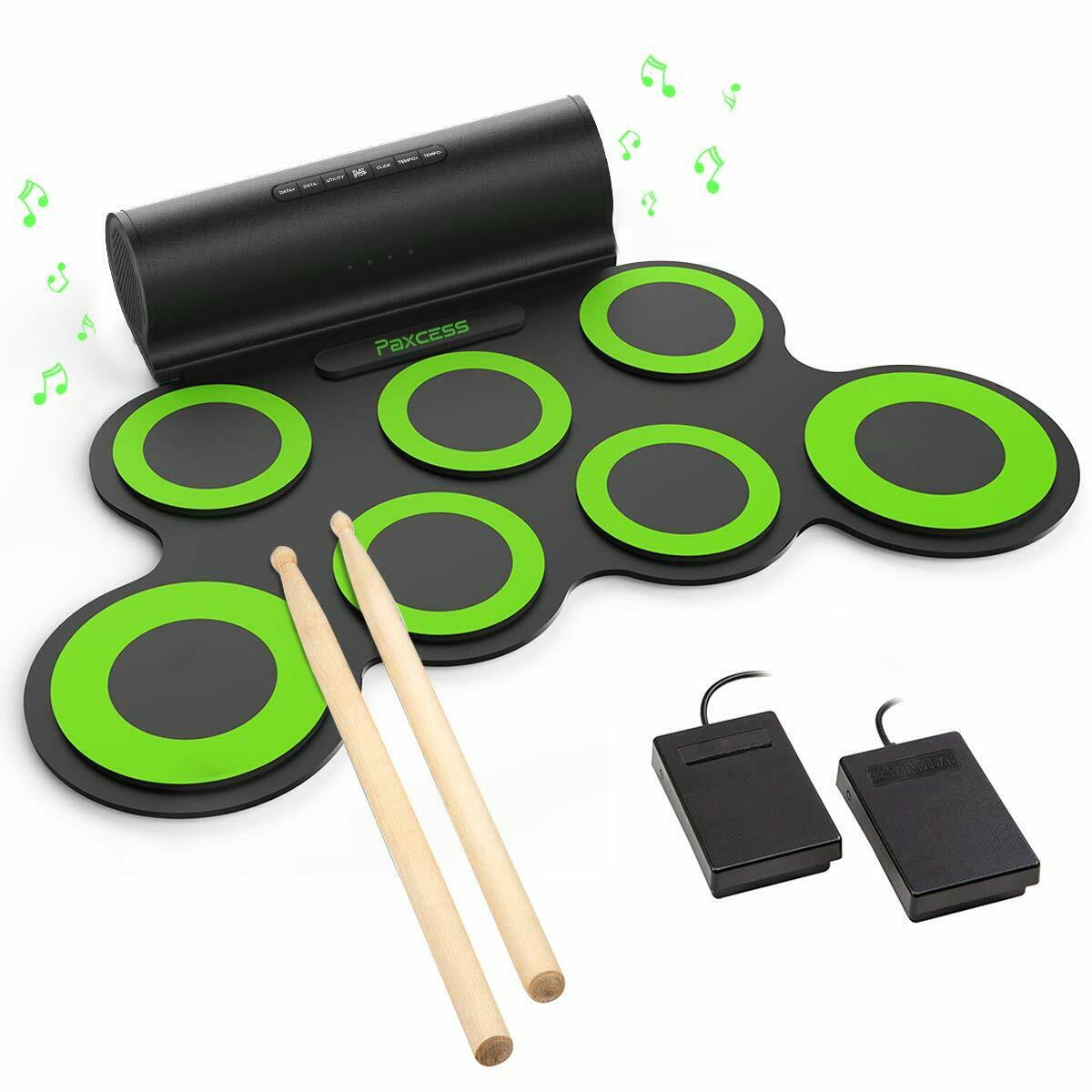 Roll Up Electric Drum Set Portable Pad Speaker Recharge Earphone Jack Foot Pedal