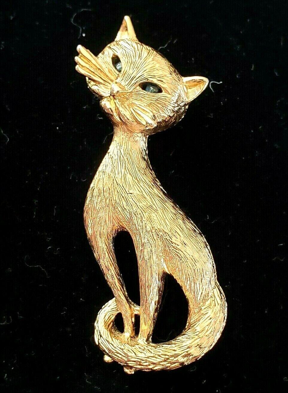 Cat eyes cat face vintage brooch enamel goldtone