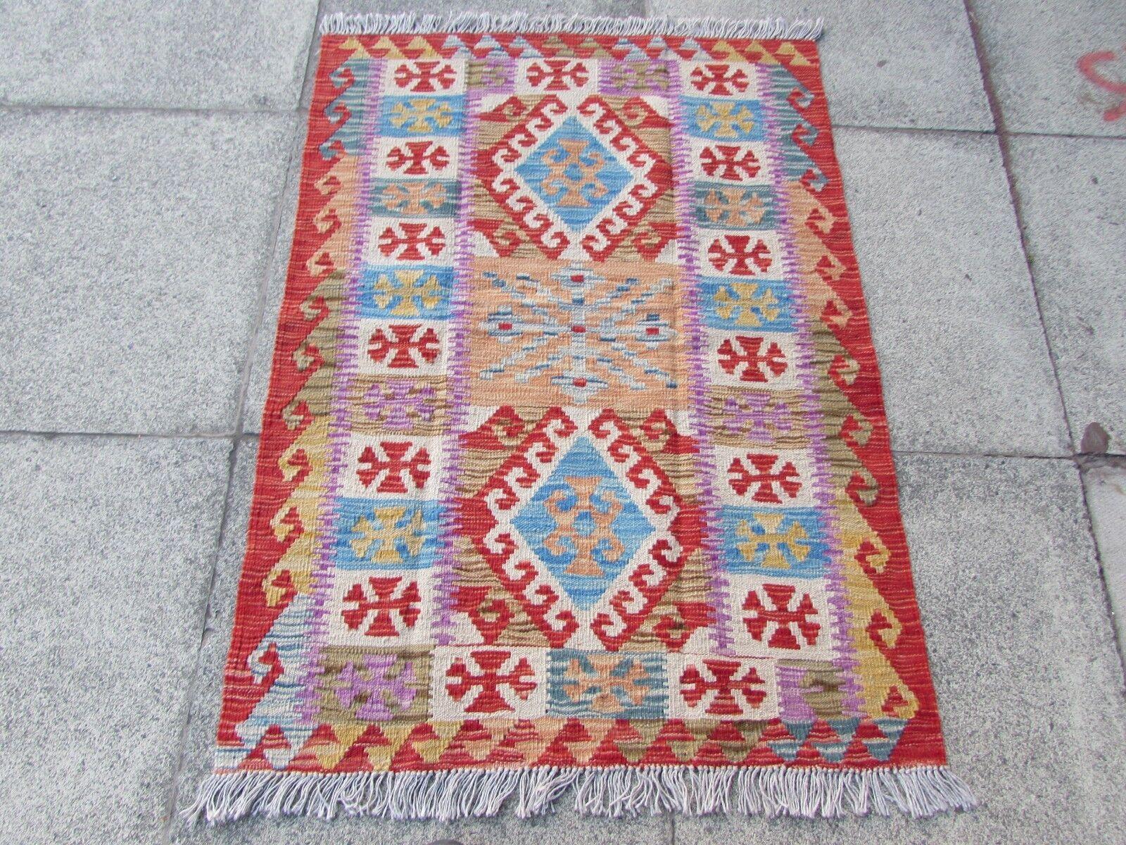 KILIM ANTICO afgano Tradizionale Fatto a Mano Orientale Rosso Blu Lana Kilim 122x79cm