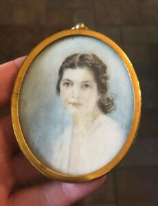 Stunning Signed French Hand Painted Portrait Miniature Of Lady In Gilt Frame Antiques