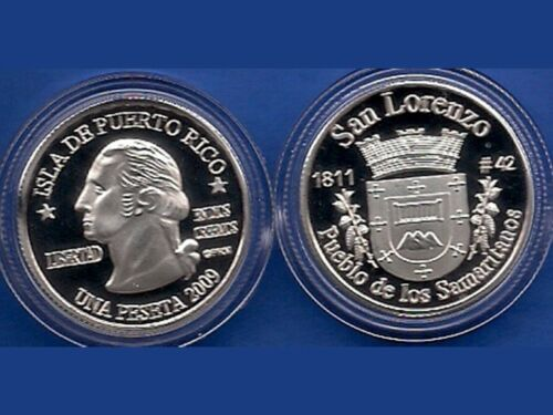 Silver PESETA SAN LORENZO 2009 Puerto Rico Boricua Quarter 1//100 Plata