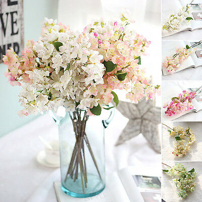 Home Garden Fake Artificial Cherry Blossom Silk Flower Bridal Hydrangea Decor