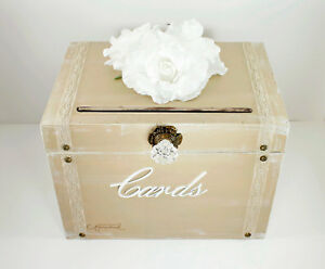 Image Is Loading Vintage Wedding Card Box Trunk Taupe White Rustic