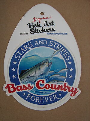 """Sporting Goods Learned Stars And Stripes Forever Bass Country 4"""" X 4 1/2"""" Baroncelli Fish Art Sticker"""