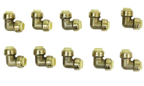"""1//2/"""" x 1//2/"""" Sharkbite Style Push Fit Elbow Fittings Lead Free Brass 10 Pieces"""