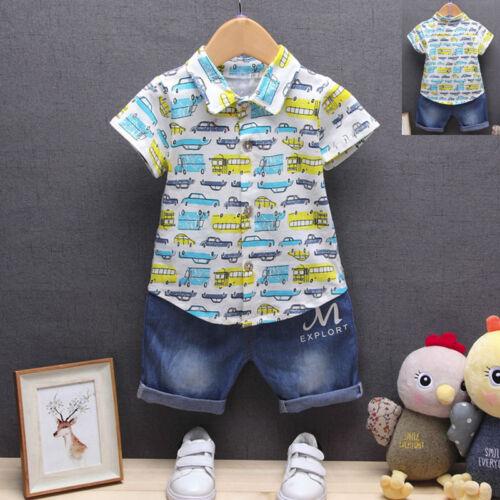 Kleinkinder Baby Jungen Auto Aufdruck T-Shirt Oberteile Jeans kurze Hosen Outfit