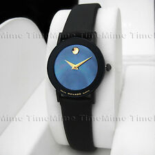 Women's Movado SAPPHIRE Vintage PVD Case Blue MOP Pearl Dial Leather Swiss Watch