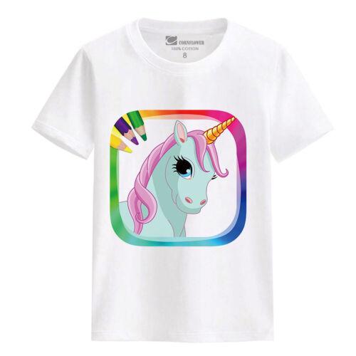 Kids Cartoon White Tops Boy Short Sleeve Cotton T-Shirt Children Funny Tee Girl