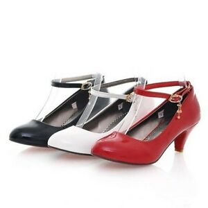 New-Synthetic-Leather-Block-Med-Heel-Women-Shoes-Strappy-Wedding-AU-Size-s033