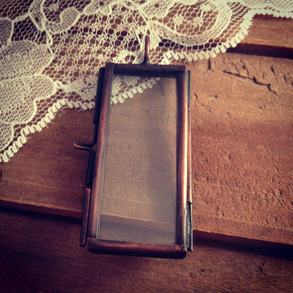 Rectangle Two-Sided Glass Frame Pendant Hinged Locket Charm & Necklace Vintage