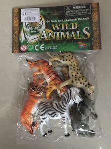Animaux Sauvages 6 pcs Plastic Model Jouet Tigre, Lion, Léopard, Girafe, Zebra, Eleph