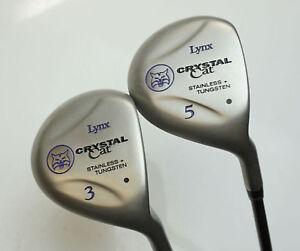 Refinished-Ladies-Set-2-x-Lynx-Crystal-Cat-Woods-3-amp-5-Ladies-Graphite-Shafts
