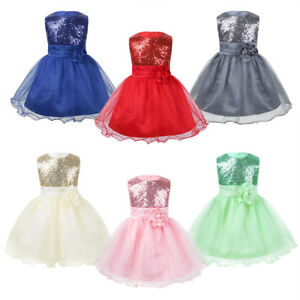 Flower Girl Toddler Baby Sequin Princess Pageant Party Wedding Formal Tutu Dress