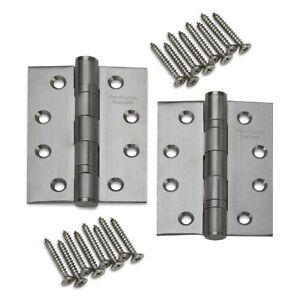 """SCREWS PAIRS OF 3/"""" x 2/"""" STAINLESS STEEL BUTT HINGES 75mm x 50mm DOOR HINGE INC"""