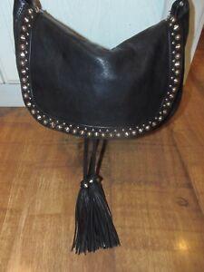 NEW-Patrizia-PEPE-Leather-Black-Saddle-HOBO-Cross-Body-Shoulder-Bag-Studs-Tassel