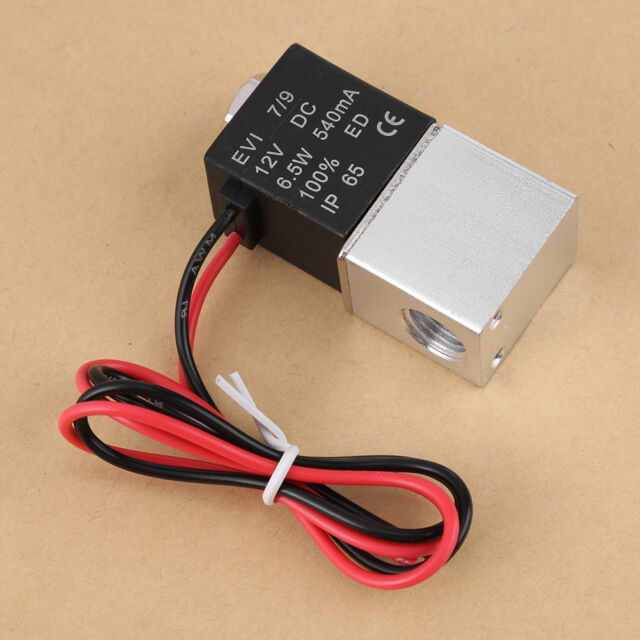 """1/4"""" 2 Way Normally Closed Pneumatic Solenoid Air Valve 12V DC for Gas Liquid"""