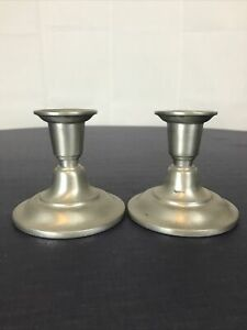 Two-2-Weighted-Pewter-Candlesticks-colonial-americana-3-x-5