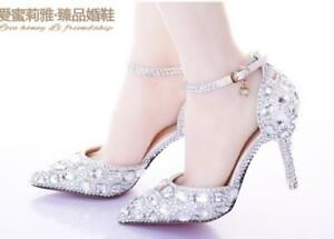 Image Is Loading Women 039 S Wedding Shoes Rhinestone BlingBling Pointed