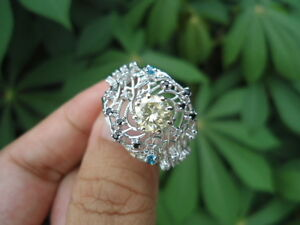 1-90-Ct-Fancy-Yellow-MOISSANITE-Sub-to-Diamond-925-Silver-Engagement-RING-CHUNKY