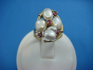 !UNIQUE 14K YELLOW GOLD VINTAGE HAND MADE PEARL AND RUBIES LADIES RING SIZE 7.5