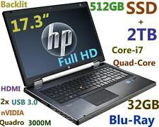 """(17.3"""" 3D-Design NV FHD) HP 8760W i7-Quad (Blu-Ray 512GB-SSD + 2TB 32GB) Backlit"""