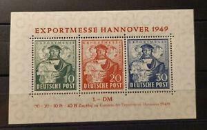 Bizone: MiNr. blocco 1 post freschi, esportazione FIERA HANNOVER 1949
