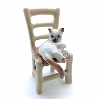 Cat Kitten On Chair Ceramic Figurine Miniature Animal CCK160