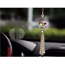 Gold Auto Car Rear View Mirror Pendant Crystal Hanging Ornament Interior Decor F