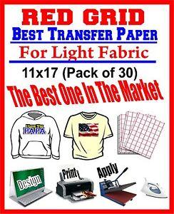 HEAT TRANSFER PAPER RED GRID IRON ON LIGHT T SHIRT INKJET PAPER 30 PK 11X17