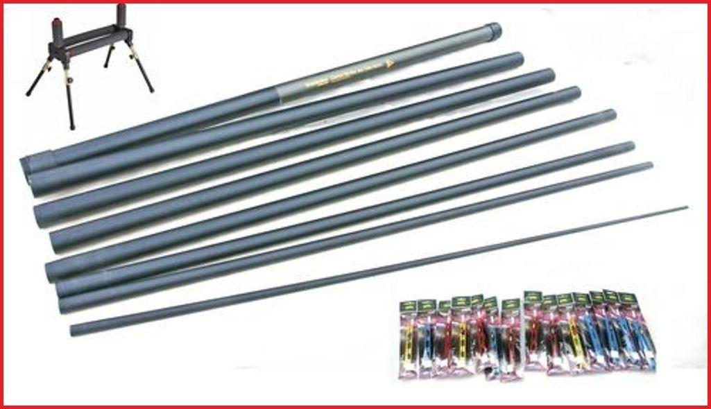 Carbo Strike 8 m Pole Ready 16 Elastic Fitted 14 Carp Pole Rigs & Roller