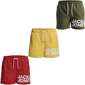 845811cafd Image is loading Jack-amp-Jones-Swim-Shorts-Logo-Print-Elasticated-