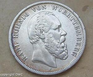 Coin-Muenze-5-Mark-Koenig-vom-Wuerttemberg-1876-F-Kaiserreich-J-173-Nr-10581