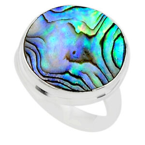 11.25cts Solitaire Natural Abalone Paua Seashell 925 Silver Ring Size 8.5 T40578