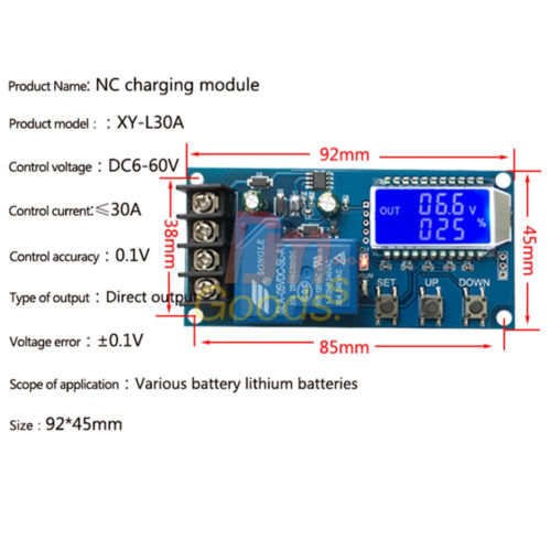 30A Lithium Battery Charger NC Control Module Protection Board 6-60V LCD Display