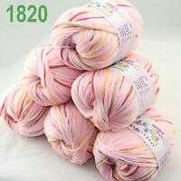 Sale 6x50g balls Soft Cashmere Silk wool Hand Knitting baby Yarn pink Red 20