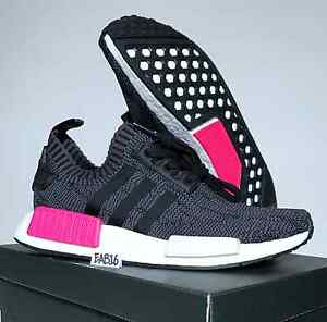 300ab930a ... Primeknit Shock Pink Black Grey White Women s Lifestyle Trainer  Image  is loading Adidas-NMD-R1-W-PK-Womens-BB2364 ...