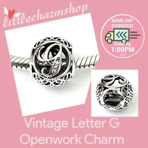 Authentic PANDORA Vintage G Sterling Silver Letter Charm 791851CZ