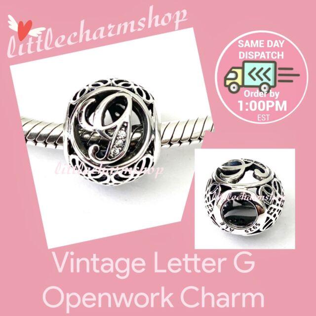 New Authentic Genuine PANDORA Vintage Letter G Openwork Charm - 791851CZ RETIRED