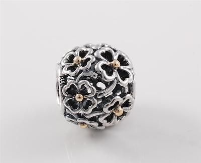 Authentic Genuine Pandora Silver 14k Gold Evening Floral Charm 791373