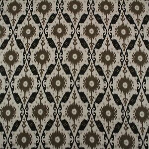 CLARENCE-HOUSE-CHENNAI-IKAT-ESPRESSO-BROWN-BLACK-100-LINEN-FABRIC-BY-YARD-54-034-W